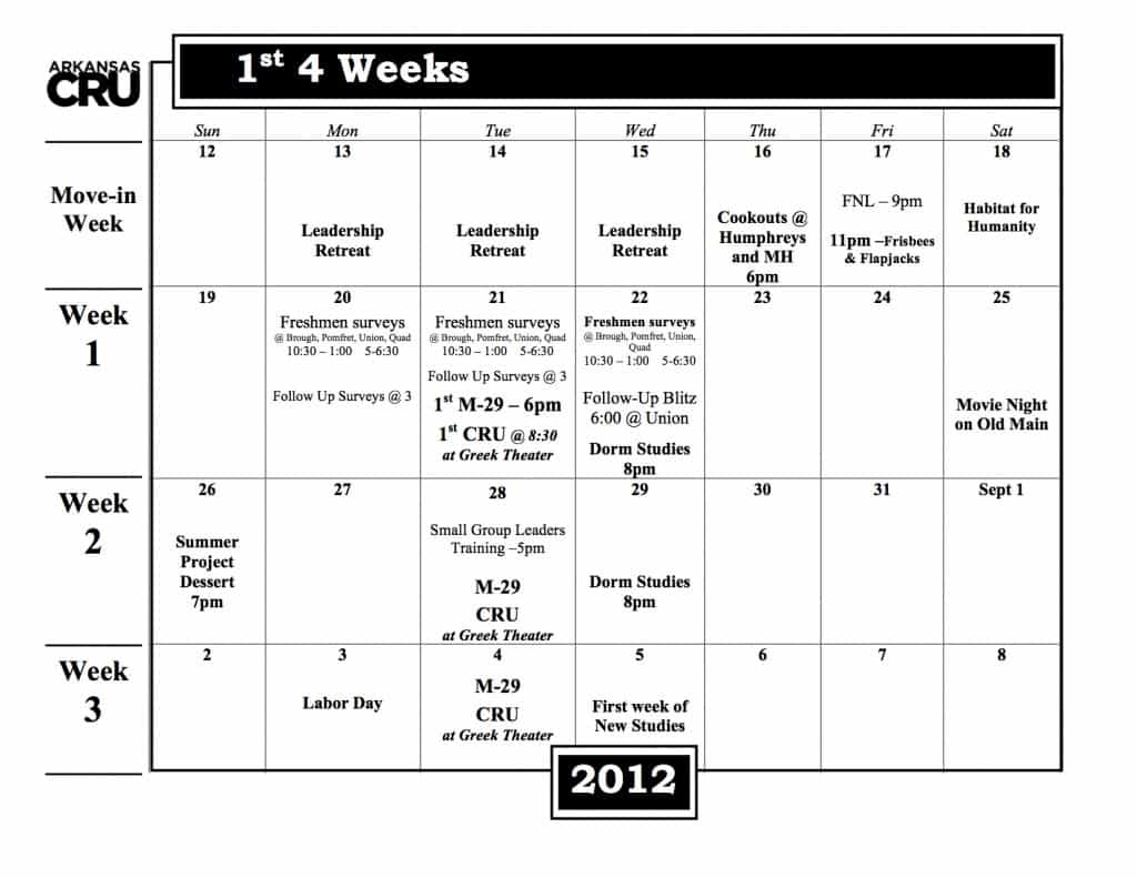 1st 4 weeks of class Calendar 2012 final