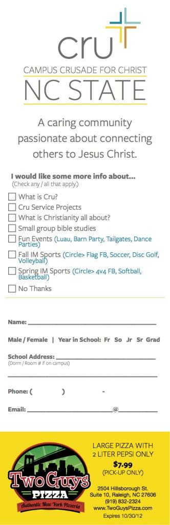 Cru Freshmen Survey Card (NCSU)