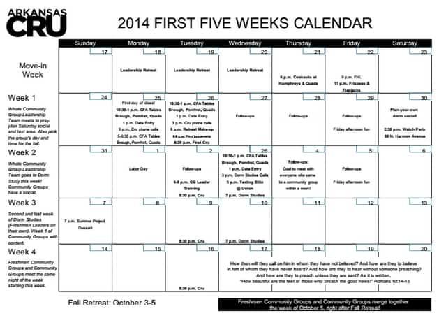 first 5 week calendar