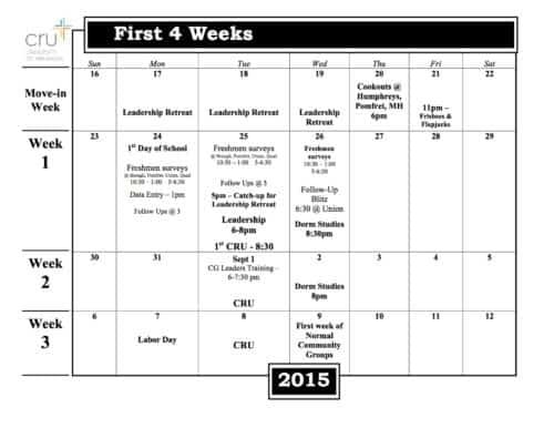 1st 4 weeks of class Calendar 2015